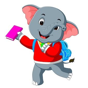 Leuke olifant op weg naar school
