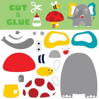 Leuke olifant staande terwijl lachen met een bij vliegt boven paddestoelhuis. papieren spel voor kinderen. uitknippen en lijmen.