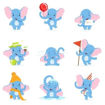 Leuke olifant tekenset, grappige babyolifant in verschillende poses en situaties illustraties