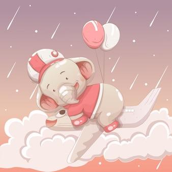 Leuke olifantsbaby die in de hemel drijft die een vliegtuig drijven