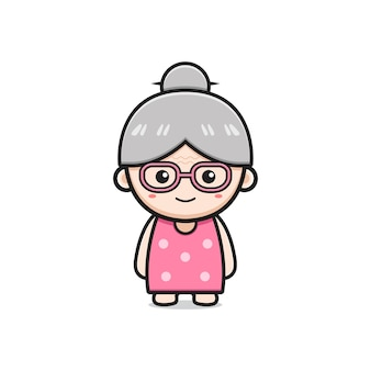 Leuke oma karakter cartoon pictogram illustratie. ontwerp geïsoleerde platte cartoonstijl