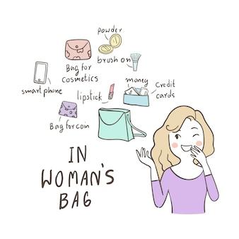 Leuke onderneemster gelukkig om dingen in haar zak te tonen