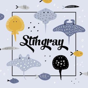 Leuke onderwaterwezens. creatieve kinderachtige achtergrond met vis en pijlstaartrog voor dekking, decoratie, afdrukken.