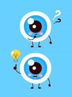 Leuke oogbol met vraagteken en gloeilampkarakter. platte cartoon karakter illustratie pictogram. geïsoleerd op wit. oog heb idee