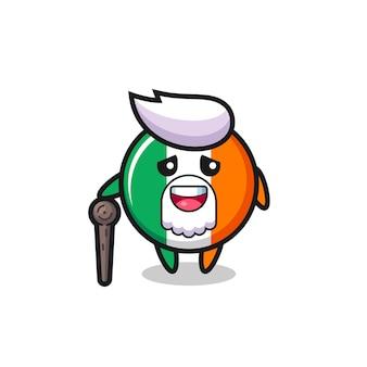 Leuke opa van de vlag van ierland houdt een stok vast, schattig stijlontwerp voor t-shirt, sticker, logo-element