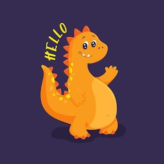 Leuke oranje dinosaurus die met zijn poot zwaait. hallo belettering. print op kleding, servies, textiel. vectorillustratie eps10.
