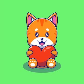 Leuke oranje kat met liefde hart illustratie. kat dieren mascotte stripfiguren.