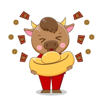 Leuke os brengt goudstaaf, gelukkig chinees nieuwjaar