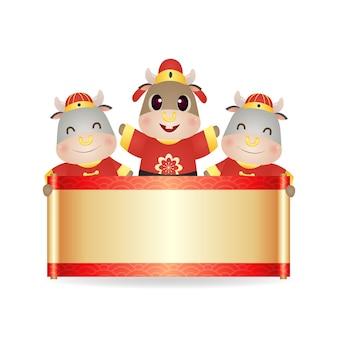 Leuke os die een lege rol voor chinese nieuwjaarsgroet houdt. oosterse stijl karakter clip art vector geïsoleerd op wit.
