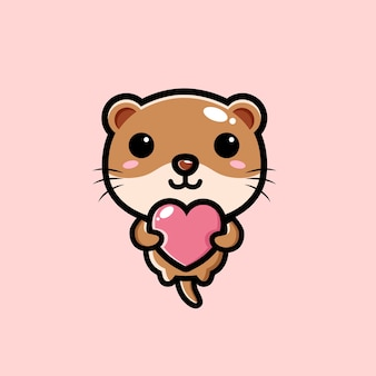 Leuke otter die een liefdehart koestert