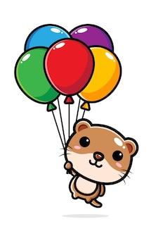 Leuke otter die met kleurrijke ballons vliegt