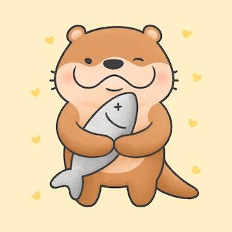 Leuke otter en grote vissen cartoon hand getekende stijl