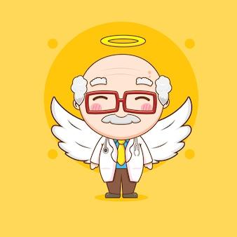 Leuke oude dokter als een engel chibi karakter illustratie