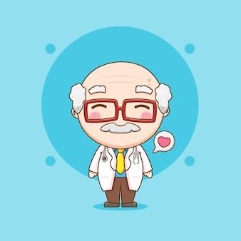 Leuke oude dokter chibi karakter illustratie