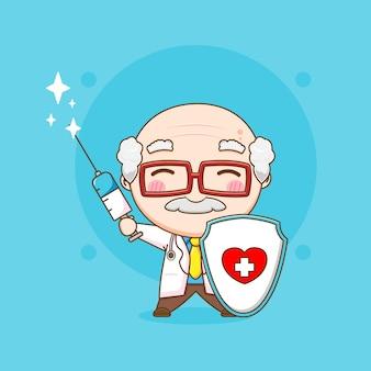 Leuke oude dokter met injectie en schild chibi karakter illustratie