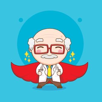 Leuke oude dokter met rode mantel chibi karakter illustratie