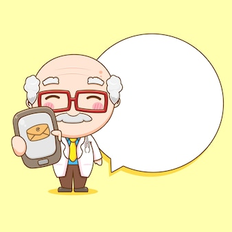 Leuke oude dokter met telefoon met tekstballon chibi karakter illustratie
