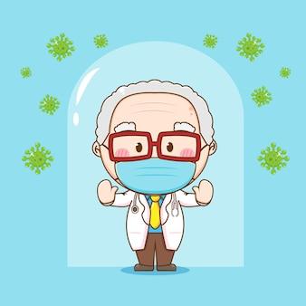 Leuke oude dokter tegen virus chibi karakter illustratie