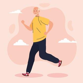 Leuke oude man wandelen, sport recreatie illustratie
