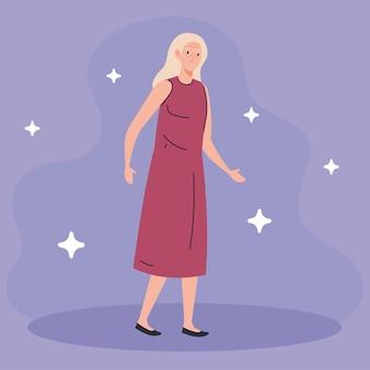 Leuke oude vrouw op paarse illustratie als achtergrond