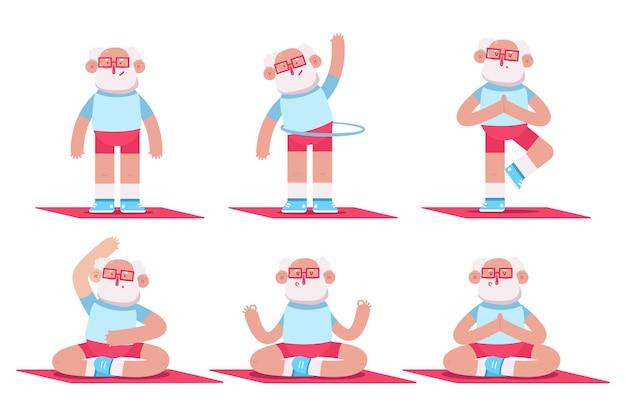 Leuke oudere man die yoga- en fitnessoefeningen doet. grappige stripfiguren