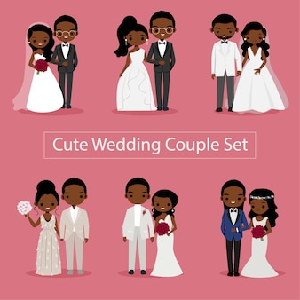 Leuke paar bruid en bruidegom illustratie