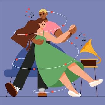 Leuke paar dansende illustratie