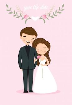 Leuke paarbruid en bruidegom voor de kaart van de huwelijksuitnodiging