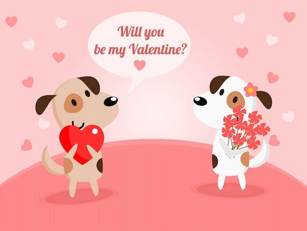 Leuke paarhond op valentine-achtergrond.