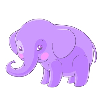 Leuke paarse olifant in een cartoon-stijl.