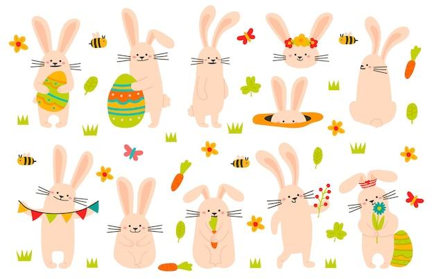 Leuke paashaas. spring grappige konijnen, paashaasmascottes met eieren