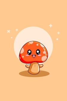 Leuke paddenstoel in cartoonillustratie van wereldvegetarische dag