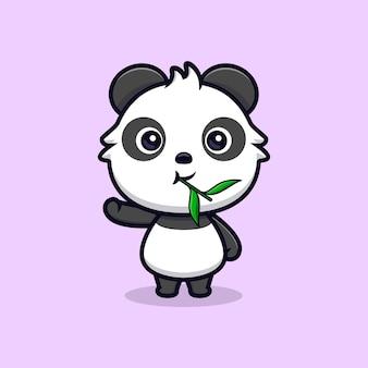 Leuke panda die blad eet en hand zwaait. dier cartoon mascotte vectorillustratie