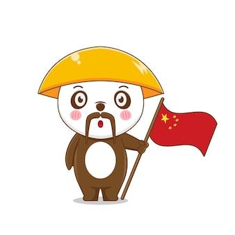 Leuke panda die de vlag van china houdt