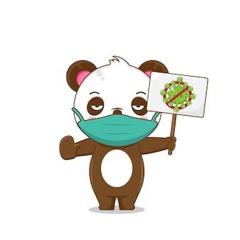 Leuke panda die een masker draagt, beschermt tegen virussen