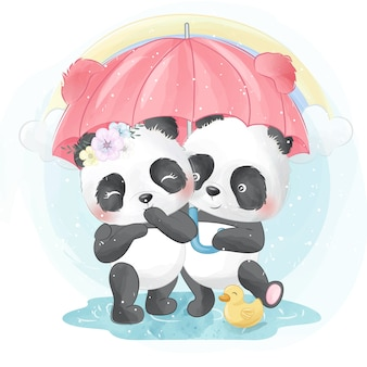 Leuke panda die een paraplu houdt