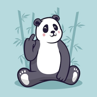 Leuke panda die het fuck you-symbool toont