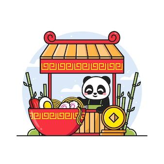 Leuke panda die noedelillustratie verkoopt