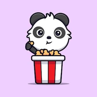 Leuke panda die popcorn eet. dier cartoon mascotte vectorillustratie