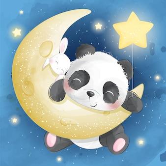 Leuke panda en kleine konijntjeszitting in een maan