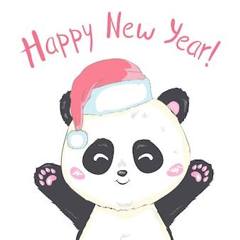 Leuke panda in de hoed van de kerstman in rode zak met geïsoleerde geschenken vector afbeelding. cartoon panda beer komt uit de zak van de kerstman. grappig kerstmisontwerp van bearcatkinderen. prettige kerstdagen en gelukkig nieuwjaarsstemming.