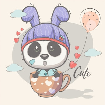 Leuke panda met ballonnen
