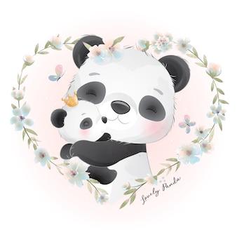 Leuke panda met bloemenillustratie