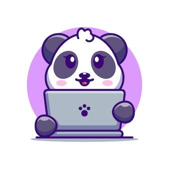 Leuke panda met laptop cartoonontwerp