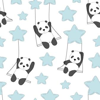 Leuke panda op een schommel in de lucht tussen de sterren.
