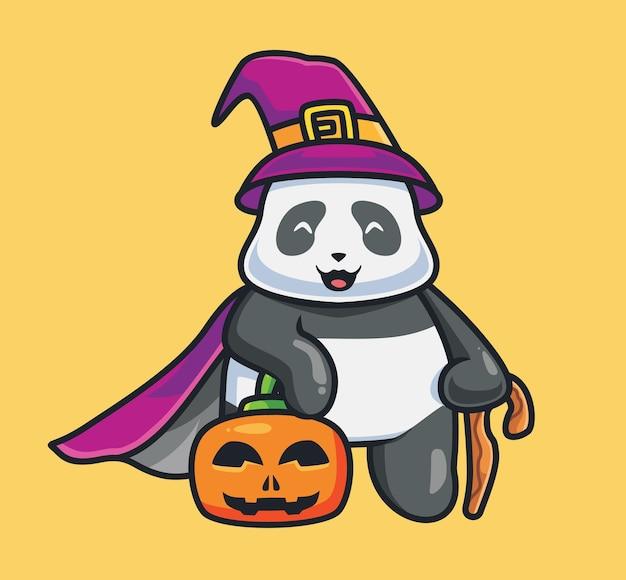 Leuke panda-tovenaar met een pompoen. geïsoleerde cartoon dierlijke halloween illustratie. vlakke stijl geschikt voor sticker icon design premium logo vector. mascotte karakter