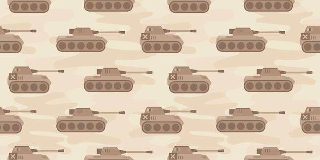 Leuke panzer tank cartoon naadloze patroon print oppervlakte ontwerp illustratie