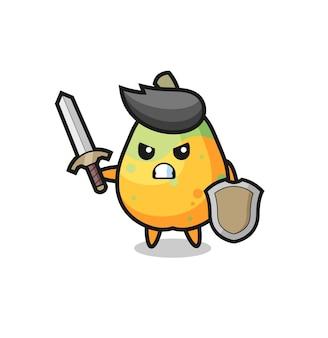 Leuke papaya-soldaat die vecht met zwaard en schild, schattig stijlontwerp voor t-shirt, sticker, logo-element