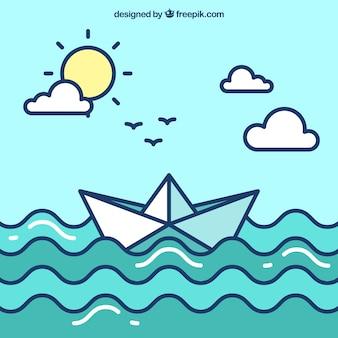 Leuke papieren boot achtergrond in plat ontwerp