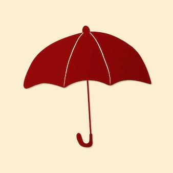 Leuke paraplu sticker, afdrukbare weer clipart vector